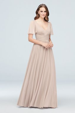 Crisscross Mesh Flutter Sleeve Bridesmaid Dress 4XLF19933
