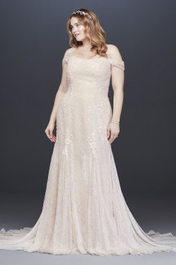 4XLMS251196 Layered Lace Swag Sleeve Trumpet Wedding Dress
