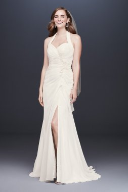 Halter Pleated Sheath Wedding Dress with Applique Collection OP1340