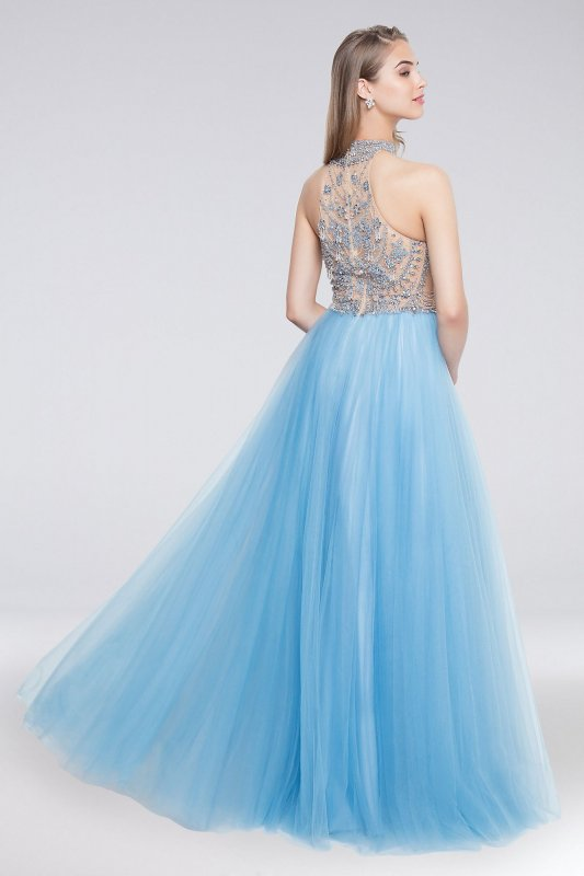 High-Neck Long Tulle Ball Gown with Beaded Bodice 1812P5868