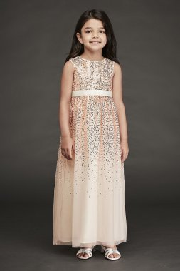 Sleeveless Scattered Sequin Long Flower Girl Gown CR1393