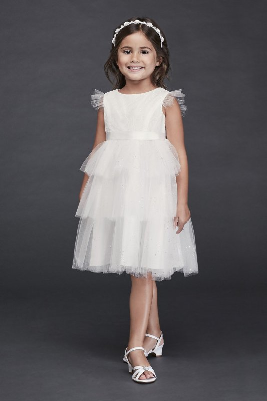 Tiered Sparkle Tulle and Lace Flower Girl Dress CR1395