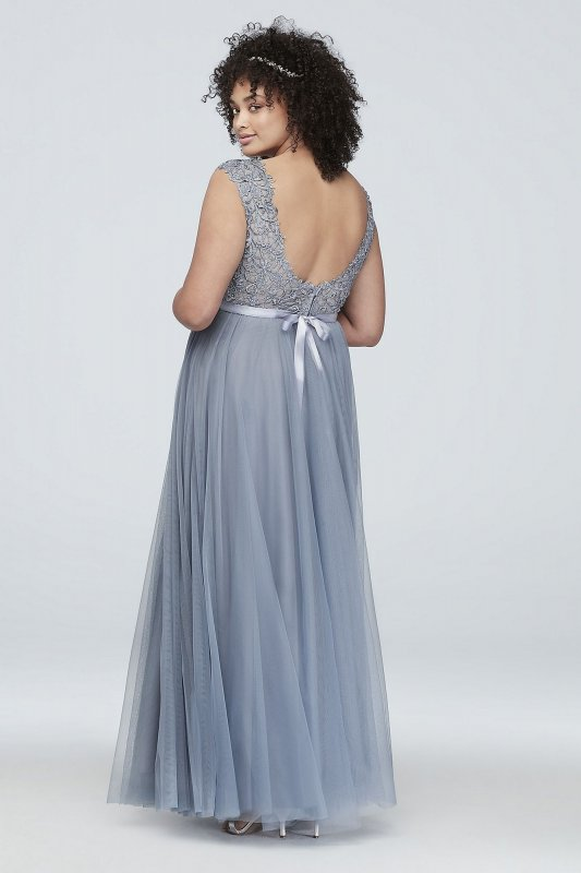 Plus Size Gown with Lace Bodice and Satin Belt 8145WA7W