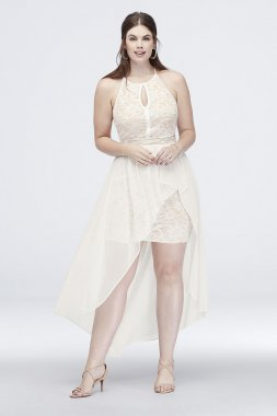 Lace Keyhole Plus Size Halter Dress with Overskirt 12163W