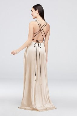 Charmeuse Gown with Crossed Spaghetti Straps 1071BN