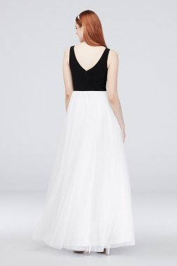 Deep V-Neck Ball Gown with Three Crystal Rows 1072BN