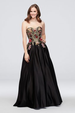 Strapless Satin Floral Embroidered Ball Gown 1093BN