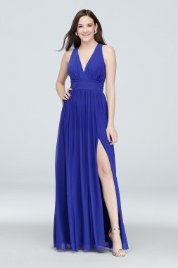 Stretch Mesh V-Neck Gown with Open Back Detail Haute Nites 130358