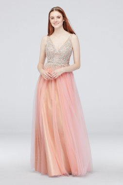 V-Neck Illusion Gown with Applique and Tulle Glamour by Terani 1811P5206G