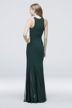 Crystal-Topped Jersey Sheath Dress with Keyhole 21618D