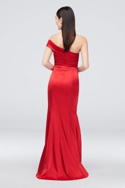 Beaded Deep-V Mikado Mermaid Dress with Low Back 1811P5229