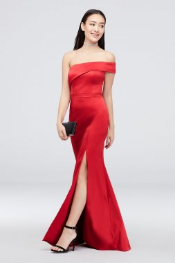 Asymmetrical One Shoulder Satin Mermaid Gown 2310X