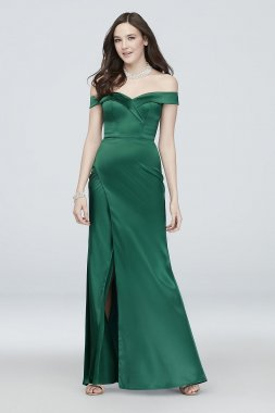 Pleated Off the Shoulder Satin Mermaid Gown My Michelle 5583YB8S