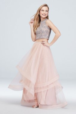 Lace Top and Crystal Belted Skirt Two Piece Set 8085UN6B