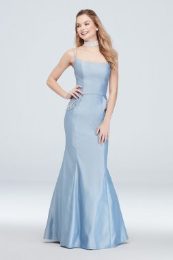 Strappy Satin Mermaid Gown with Crystal Pockets 1029BN