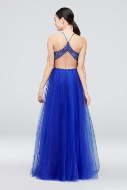 Mesh Illusion Halter Ball Gown with Flowy Skirt 1095BN