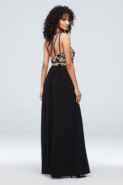 Strappy One-Shoulder Jersey Lace Sheath Dress 21834