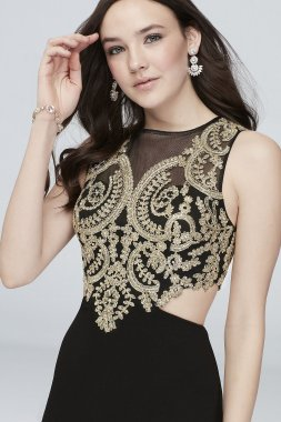 Illusion Embellished Brocade Gown with Cutouts 8145UV6B