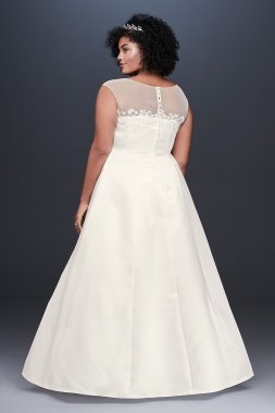 Illusion Neck Ruched Satin Plus Size Wedding Dress 9OP1348