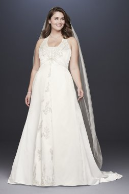 Embroidered Lace Satin Plus Size Wedding Dress Collection 9OP1356