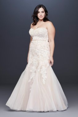 Beaded Floral Lace Mermaid Plus Size Wedding Dress 9WG3964