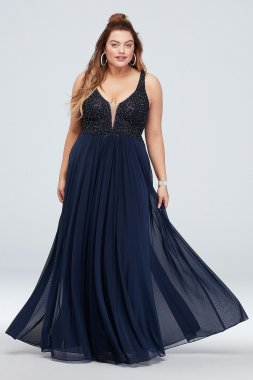 Plunging V Plus Size Gown with Gem Applique Bodice A20608W