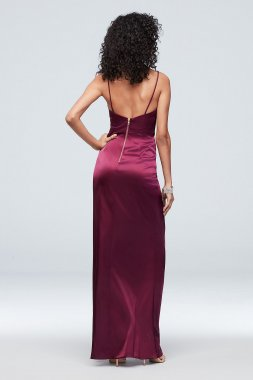 Ruched Low-Back Satin Cowlneck Sheath Dress A21847