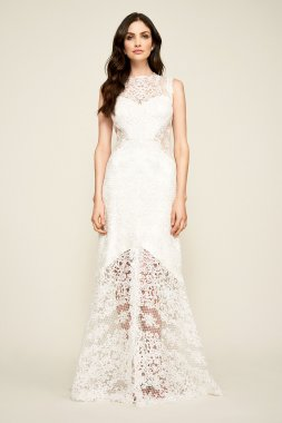 Corded Lace Tank Wedding Dress with Sheer Details BBU18020LBR