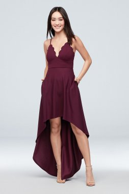Scalloped Crepe High-Low Spaghetti Strap Dress C39811DDNE