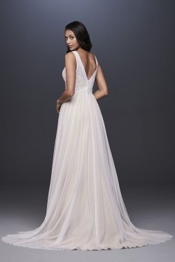 Pleated Tulle Tank Wedding Dress with Lace Waist OP1347