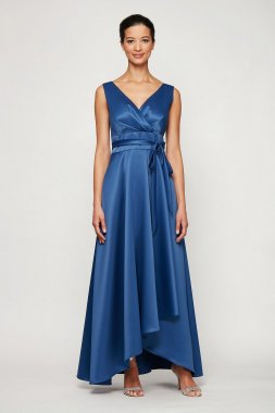 Surplice Satin Ball Gown with High-Low Tulip Hem 8150255