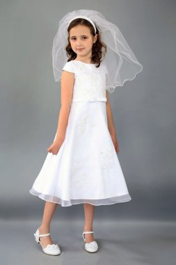 Embroidered Applique Cap Sleeve Flower Girl Dress C5-372