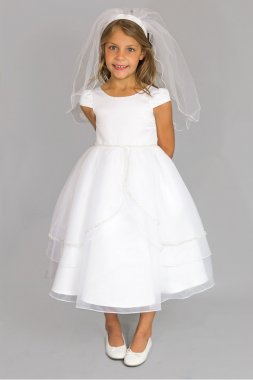 Satin Cap Sleeve Communion Dress with Tulip Skirt C5-385
