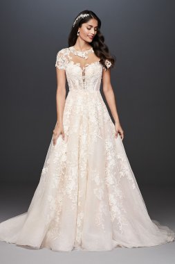 Lace Illusion Cap Sleeve Ball Gown Wedding Dress CWG833