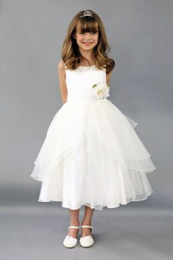 Tank Flower Girl Dress with Floral Applique Detail FG-104