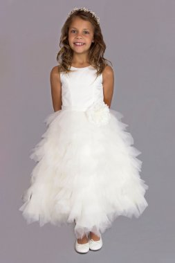 Tiered Tulle Flower Girl Gown with Floral Belt FG-110