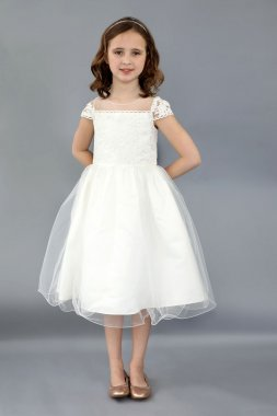 Cap Sleeve Embroidered Illusion Flower Girl Gown FG-610