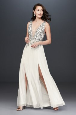 Bead Sequin and Pearl Deep-V Dress with Slits Aidan Maddox MN1E68