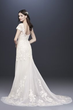Embroidered Illusion Cap Sleeve Wedding Dress MS251199