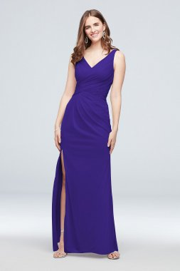 Tank Bridesmaid Dress with Metallic Lace Inset 4XLF19983M