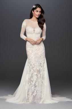 Applique and Tulle Godet Petite Wedding Dress Signature 7SWG827
