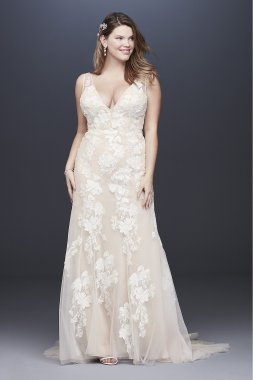 Deep V Plus Size Wedding Gown with Floral Applique 8MS251200