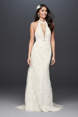 Plunge Neckline Lace Halter Wedding Dress Signature SWG825
