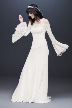 Bell Sleeve Off-the-Shoulder Lace Wedding Dress WG3949
