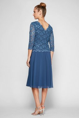 Petite Mother of the Bride Dress Style 1121796 with 3/4 Sleeve Lace Bodie