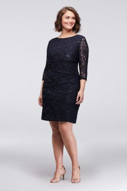 Ronni Nicole 121508 Asymmetric Tiered 3/4 Sleeves Lace Plus Size Sheath Dress
