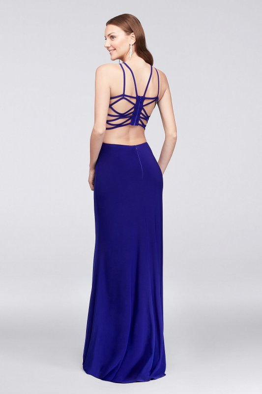 Jersey Gown with Strappy Open Back and High-Neck 12489