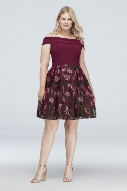 Cold SHoulder Short Floral Embroidered Plus Size Dress 12553W