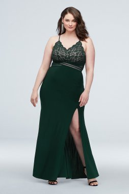 12714W Scalloped Lace Plus Size Dress with Banded Waist
