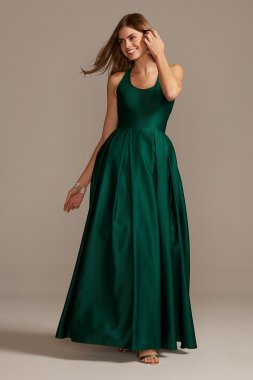 Long A-line 12772 Style Satin Racerback Ball Gown with Cutout